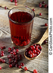 Cranberry fruit drink in glass