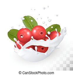 Cranberry in a milk splash on a transparent background. Vector icon.
