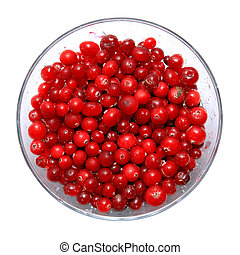 cranberry in plate on white background