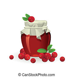 Cranberry jam jar with fresh berry isolated on white background