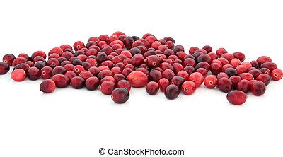 Cranberry fruit loosely scattered isolated over white background.