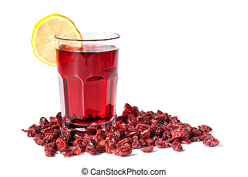 Cranberry Juice and Dried Cranberries - A glass of fresh...