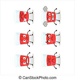 Cranberry juice cartoon character with various angry ...