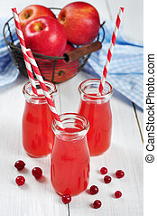 Cranberry juice in glass jars