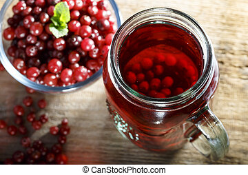 cranberry juice on the table