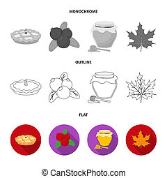Cranberry, pumpkin pie, honey pot, maple leaf. Canada thanksgiving day set collection icons in flat, outline, monochrome style bitmap symbol stock illustration web.