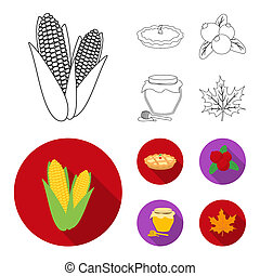 Cranberry, pumpkin pie, honey pot, maple leaf. Canada thanksgiving day set collection icons in outline, flat style bitmap symbol stock illustration web.