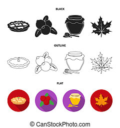 Cranberry, pumpkin pie, honey pot, maple leaf.Canada thanksgiving day set collection icons in black,flat,outline style bitmap symbol stock illustration web.
