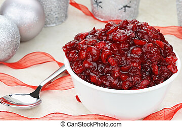 Fresh homemade cranberry relish made from fresh cranberries, pineapples, walnuts and celery.