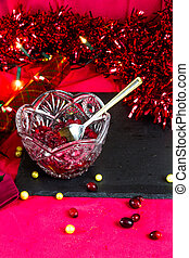 Cranberry sauce in bowl ready for Christmas, landscape, portrait with spoon