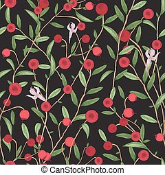 Cranberry seamless pattern. Detailed hand drawn branches with berries. Colorful hand drawn illustration.