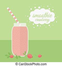 Cranberry smoothie in jar