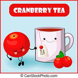 cranberry tea. Cute kawaii character red berry and a cup ...