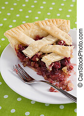 Cranberry Walnut Pie Slice - A beautiful slice of cranberry...