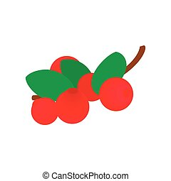 Cranberry with leaf isometric 3d icon