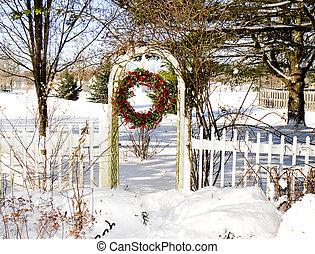 Cranberry Wreath in Garden