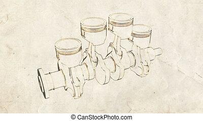 cranck shaft old 01 - engine pistons and cog sketch on old...