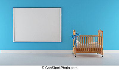 Crandle for baby boy - Cradle of a little biy with blue wall...