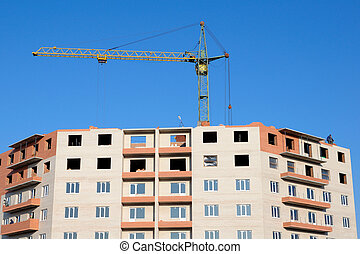 Crane and building under construction