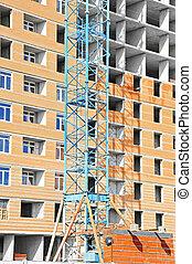Crane and construction site
