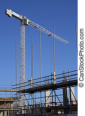 Crane and scaffold - Building site