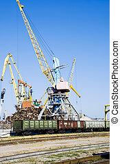 crane and train
