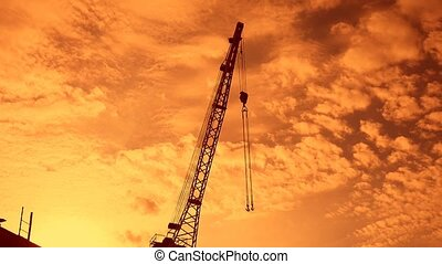crane boom with hook sunset silhouette video - crane boom...
