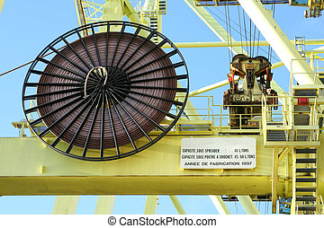 Crane Cable Reel - Electrical cable reel on a container...