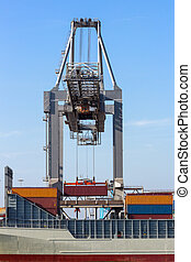Crane container ship loading