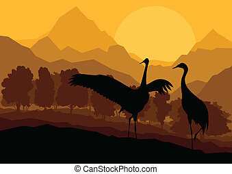 Crane couple in wild mountain nature landscape background illustration vector