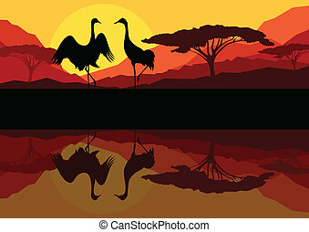 Crane couple in wild mountain nature landscape background...