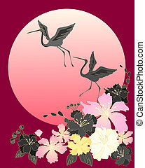 an illustration of two beautiful cranes flying above stylized japanese cherry blossom with a big sun on red background