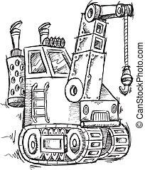 Crane Doodle Sketch Vector Illustration Art