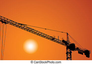 Crane - The elevating crane on construction of a building