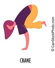Crane exercise, yoga asana or position, sport or fitness -...