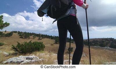crane:, femme, jib, randonnée, montagne, piste, plateau, atteint, jour