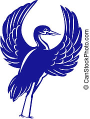 Crane flapping wings - illustration of a Crane flapping...