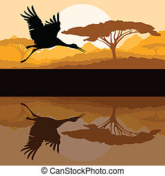 Crane flying in wild mountain nature landscape background