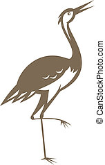Illustration of a crane looking up and forward done in retro style.