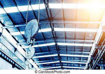 Crane hoist - Industrial crane hook in a building