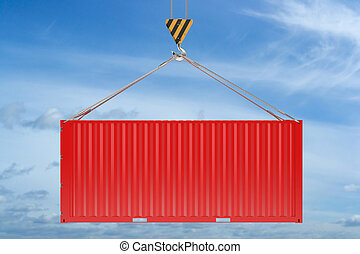 Crane hook and red cargo container on sky background