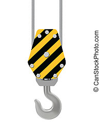black and yellow crane hook hung with large steel cables