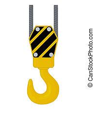 Crane hook isolated on white background, vector illustration.