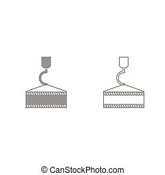 Crane hook grey set icon .