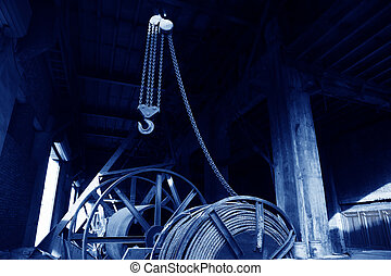 crane hook in the darkness background