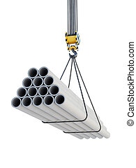 Crane hook lifting of concrete construction pipes