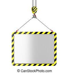 Crane hook lifting of placard