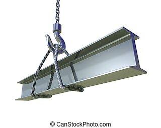 Crane hook lifting of steel beam - 3D illustration
