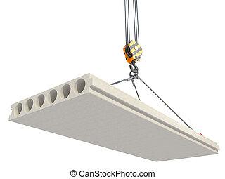 Crane hook lifts concrete panel