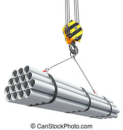 Crane hook lifts group of pipes.